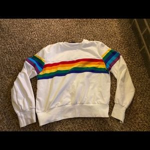 Shein rainbow stripe sweatshirt crewneck too large